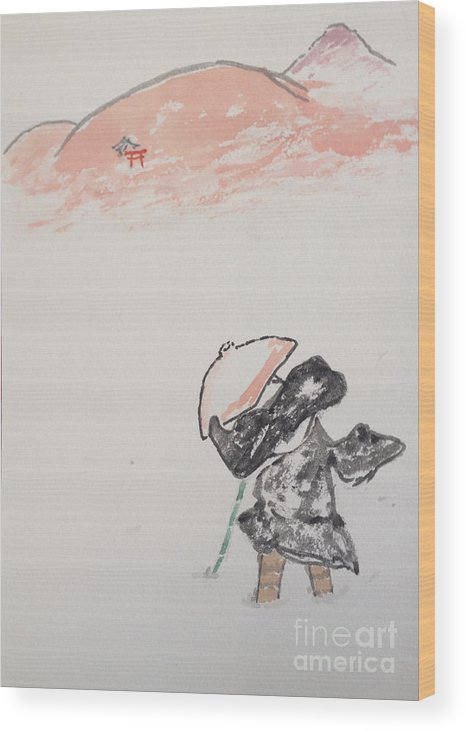 Japanese Style Art Wood Print featuring the painting Japanese Shrine And Isolated Monk by Sawako Utsumi