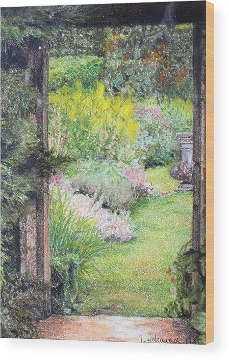 Landscape Wood Print featuring the drawing Jardin by Muriel Dolemieux