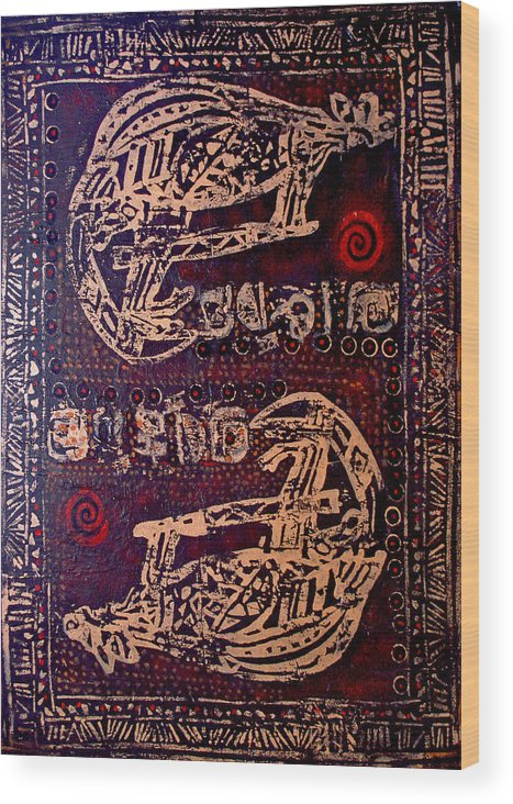 Tribal Wood Print featuring the painting Kangaroo by Dale Witherow