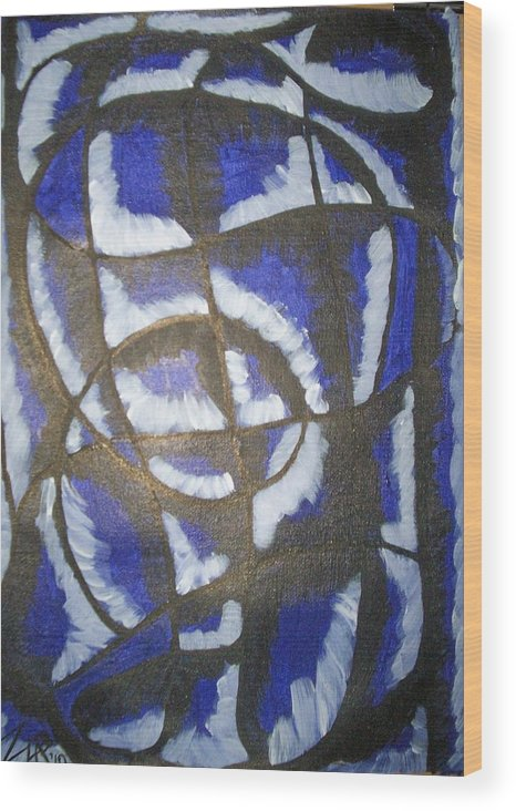 Abstract Wood Print featuring the painting Lady In Blue by Zalina Barrington