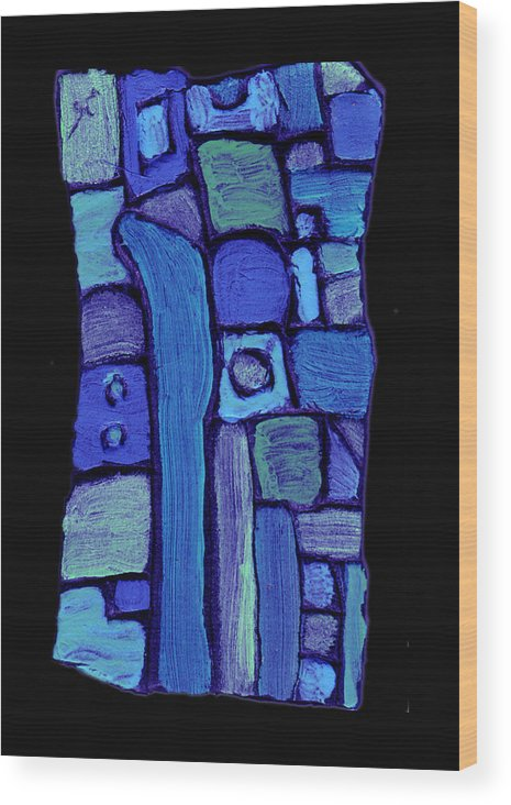 Abstract Wood Print featuring the painting Life In The Pond by Wayne Potrafka