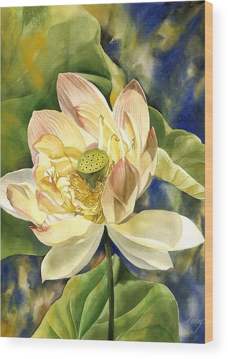 Flower Wood Print featuring the painting Lotus In Blooms by Alfred Ng
