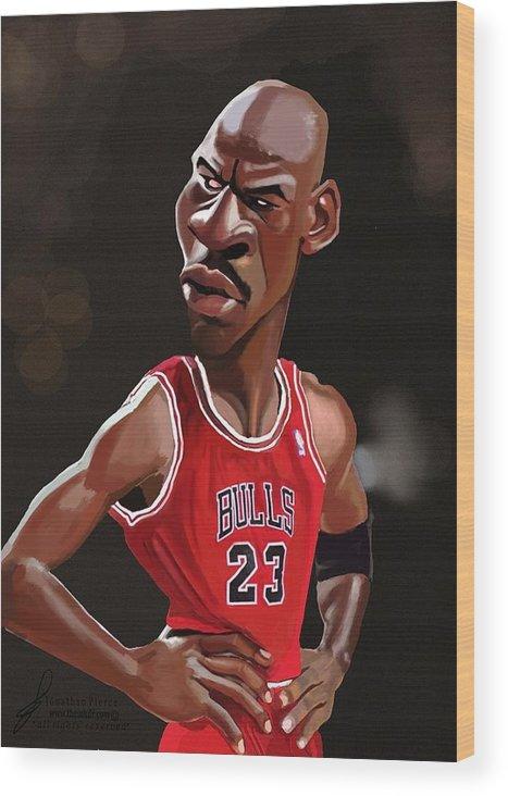 51bc643f92d5d8 Michael Jordan Caricature Wood Print by Jonathan Pierce