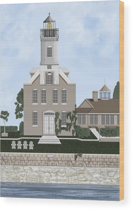Lighthouse Wood Print featuring the painting Morgan Point Mystic Harbor Conn by Anne Norskog