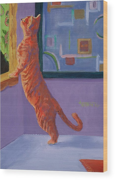 Animal Wood Print featuring the painting Museum Cat by Jimmie Trotter