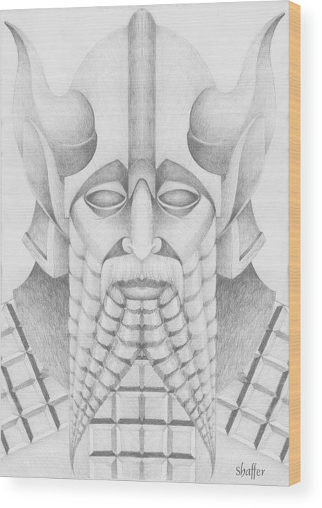 Babylonian Wood Print featuring the drawing Nebuchadezzar by Curtiss Shaffer