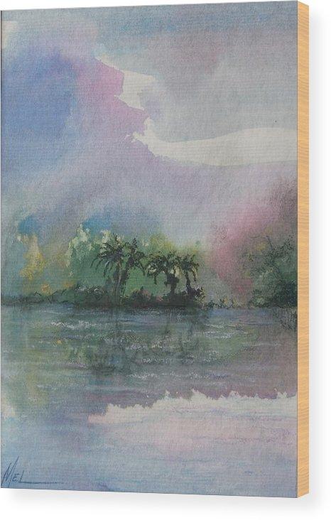 Tropical Island Wood Print featuring the painting Ocean Pearls by Melody Horton Karandjeff