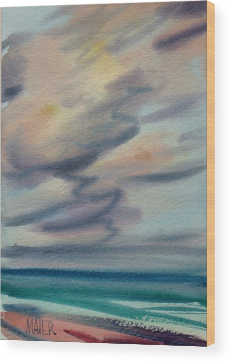 Seascape Wood Print featuring the painting Pacific Evening by Donald Maier