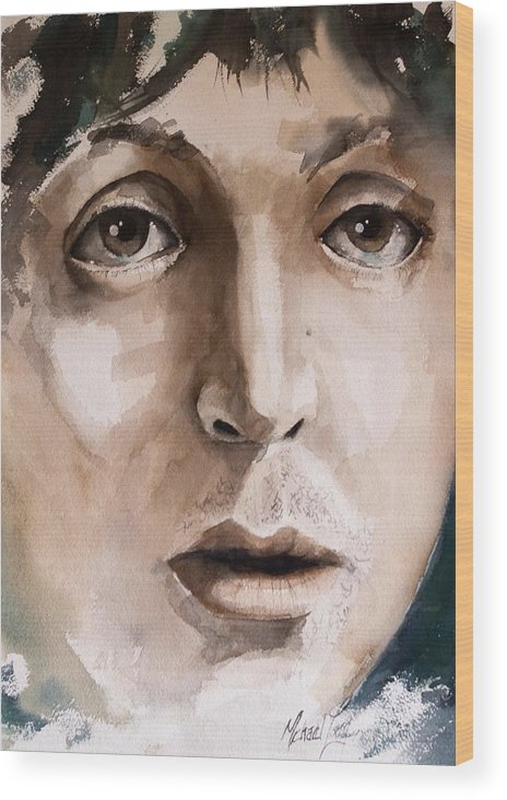 Paul Mccartney Wood Print featuring the painting 'paul' by Michael Lang