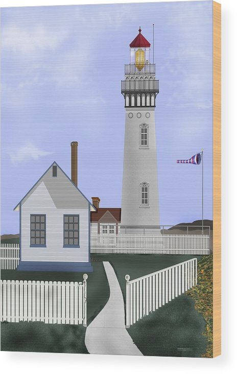 Lighthouse Wood Print featuring the painting Pigeon Point Lighthouse California by Anne Norskog