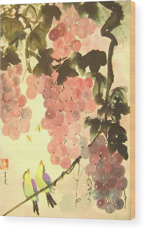 Water Colour Wood Print featuring the painting Pink Romance by Lian Zhen