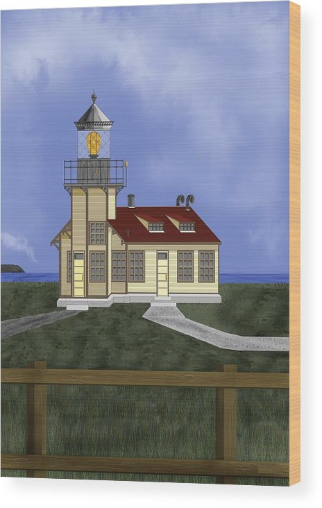 Lighthouse Wood Print featuring the painting Point Cabrillo California by Anne Norskog