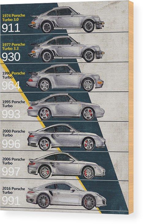 Porsche Wood Print featuring the digital art Porsche 911 Turbo Timeline by Yurdaer Bes