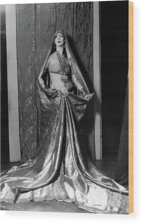 Ruth St Denis Wood Print featuring the photograph Ruth St Denis - Exotic Dancer by Sad Hill - Bizarre Los Angeles Archive