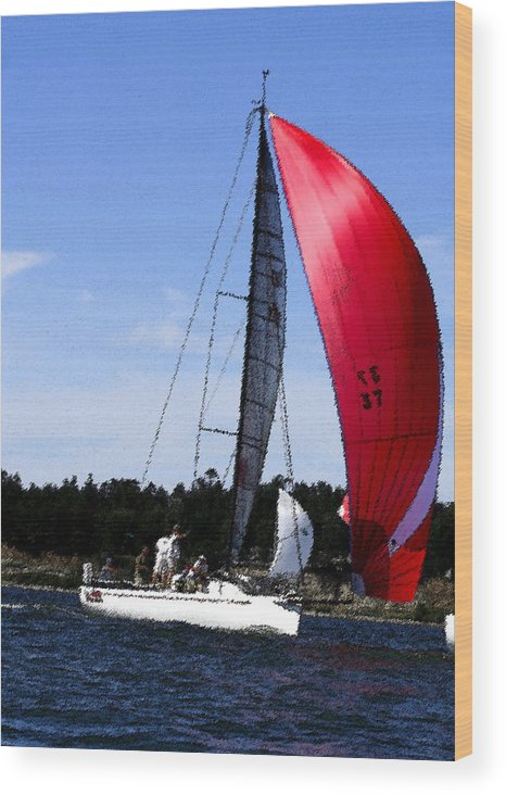 Red Wood Print featuring the photograph Sail Away - Watecolor by Mary Gaines