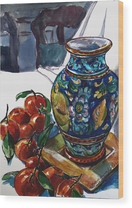 Vase Wood Print featuring the painting Sicily Memories by Doranne Alden