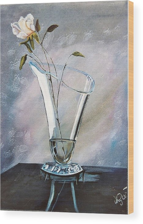 Vase Wood Print featuring the painting Simple Elegance by Joan Gossett