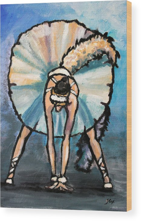 Ballerina. Figure. Wood Print featuring the painting Skinny Ballerina. by John Cox
