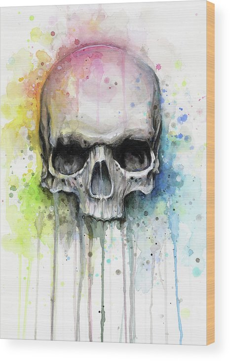 Skull Wood Print featuring the painting Skull Watercolor Rainbow by Olga Shvartsur