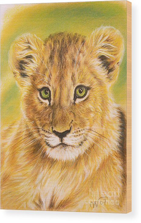 Small Lion Wood Print featuring the pastel Small Lion by Valentina Vassilieva