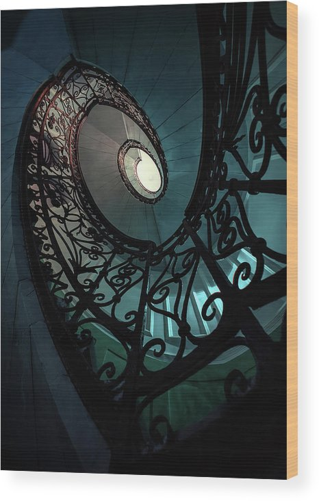 Architecture Wood Print featuring the photograph Spiral Ornamented Staircase In Blue And Green Tones by Jaroslaw Blaminsky