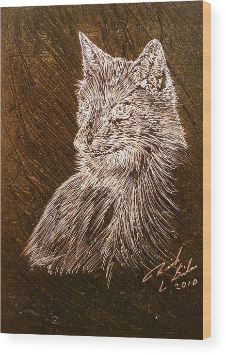 Fox Wood Print featuring the painting Spirit Fox by Rick Silas