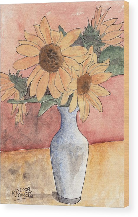 Sunflower Wood Print featuring the painting Sunflowers In Vase Sketch by Ken Powers