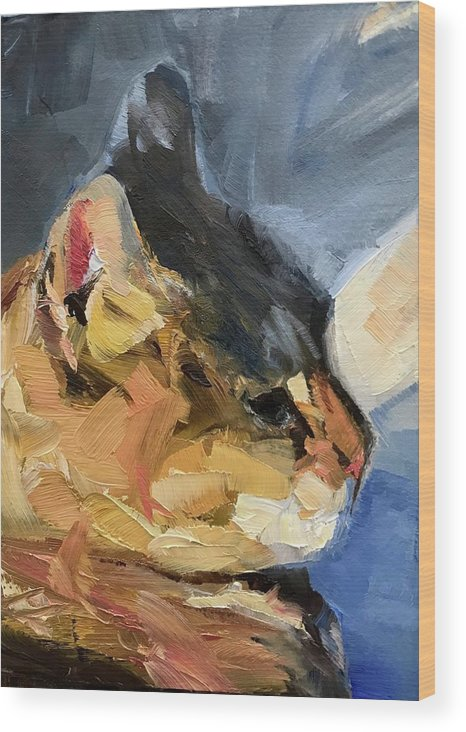 Cat Painting Portrait Wood Print featuring the painting Sunset Kitty by Gary Bruton