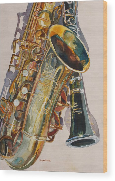 Saxophone Wood Print featuring the painting Taking A Shine To Each Other by Jenny Armitage