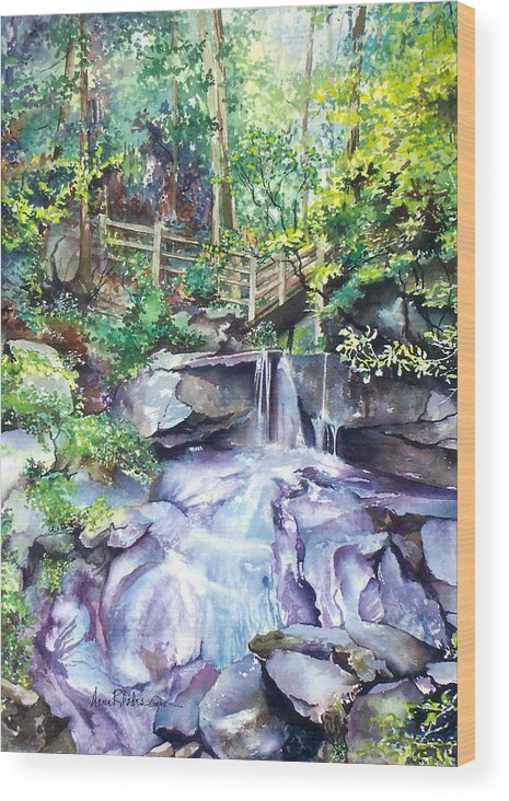 Waterfall Wood Print featuring the painting Tennessee Waterfall by Anne Rhodes