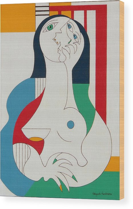 Women Fingers Nails Modern Humor Wood Print featuring the painting Thanks by Hildegarde Handsaeme