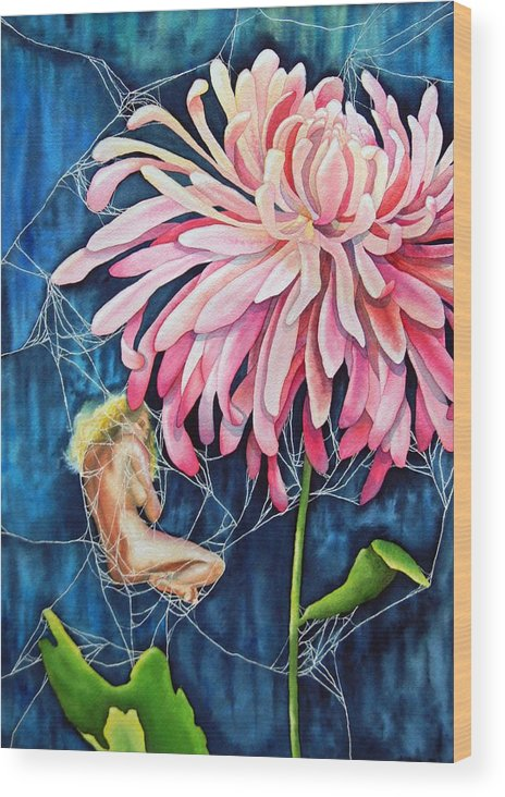 Floral Wood Print featuring the painting The Tender Trap by Gail Zavala