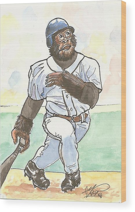 Baseball Wood Print featuring the painting There It Is by George I Perez