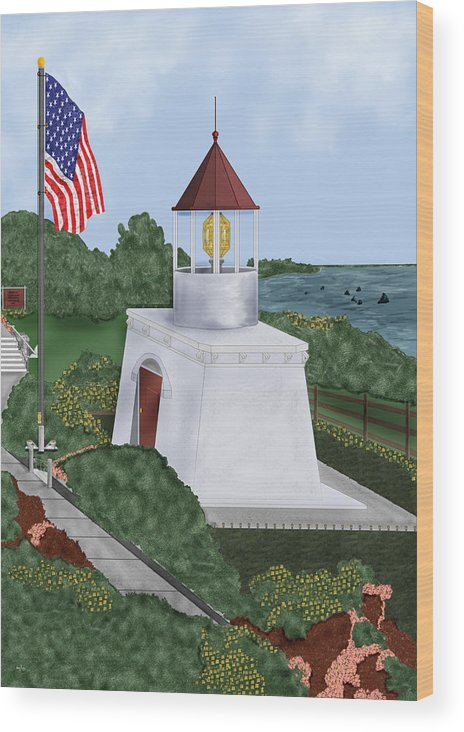 Trinidad Memorial Wood Print featuring the painting Trinidad Memorial Lighthouse by Anne Norskog