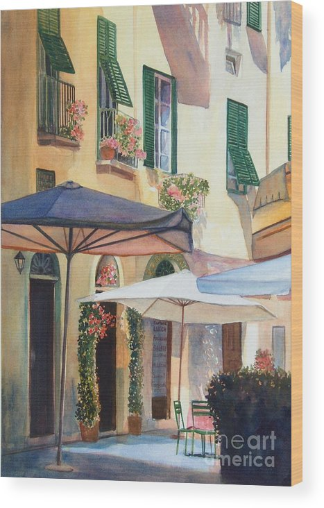 Tuscan Wood Print featuring the painting Tuscan Sunlight by Ann Cockerill