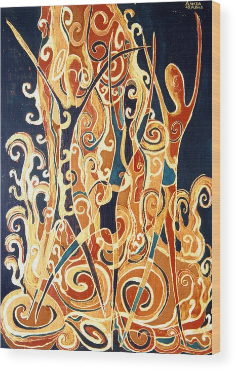 Figures Wood Print featuring the painting Waterfall Of A Golden Rain by Aliza Souleyeva-Alexander