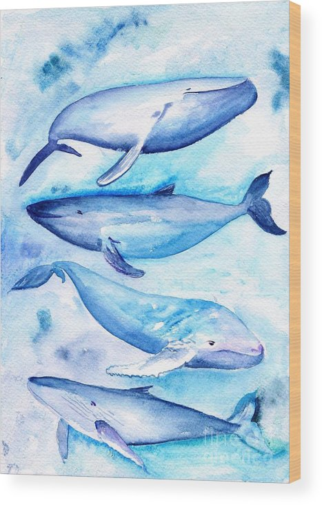 Humpback Whale Wood Print featuring the painting Whales by Sweeping Girl