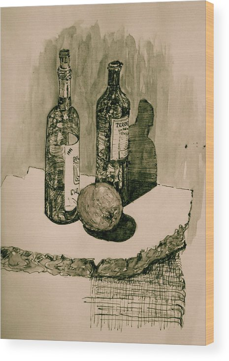 Landscape Wood Print featuring the drawing Wine On The Rock by Dan Earle