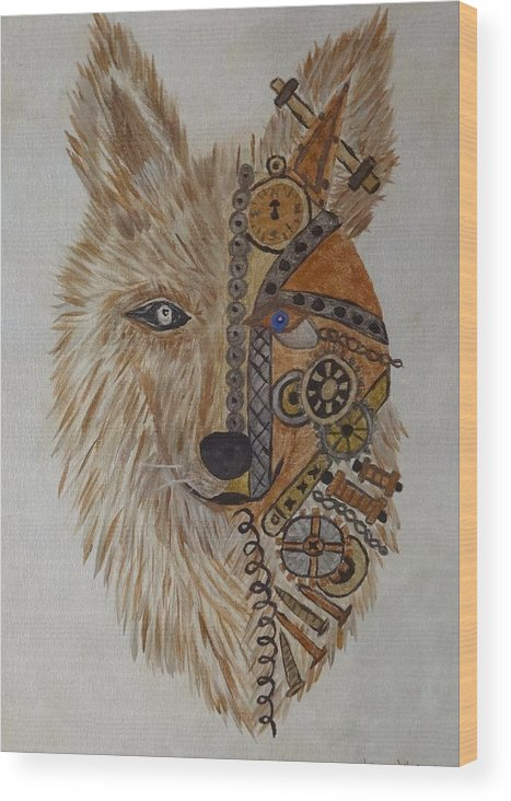 Wolf Wood Print featuring the painting Wolf Machine by Laura Johnson