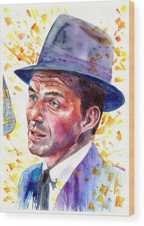 Frank Wood Print featuring the painting Frank Sinatra Singing by Suzann Sines