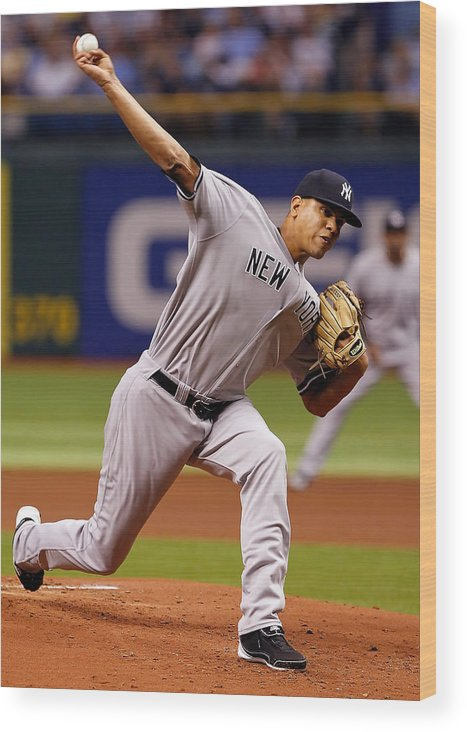 American League Baseball Wood Print featuring the photograph Dellin Betances by J. Meric