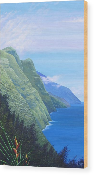 Landscape Wood Print featuring the painting Sunshine In The Shade by Hunter Jay