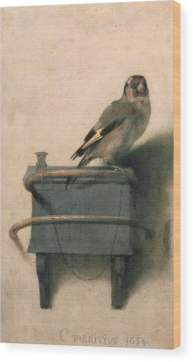 Bird Wood Print featuring the painting The Goldfinch by Carel Fabritius