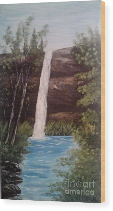 Waterfall Wood Print featuring the painting Clear Cool Water by Jessi and James Gault