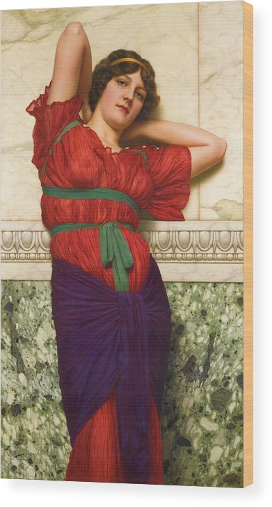 John William Godward Wood Print featuring the painting Contemplation by John William