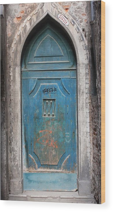 Venice Wood Print featuring the photograph Blue Gothic Door In Venice by Michael Henderson
