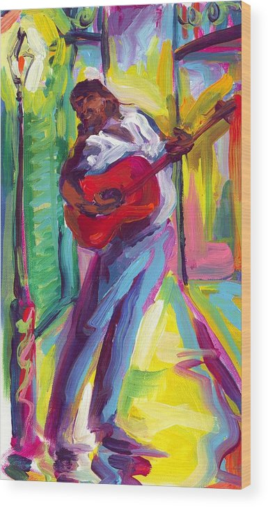 Red Wood Print featuring the painting Red Guitar by Saundra Bolen Samuel