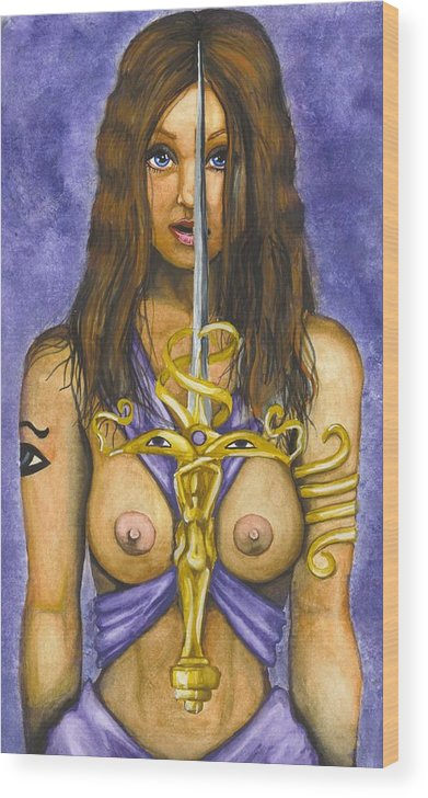 Sword Wood Print featuring the painting The Sword Of Magic by Scarlett Royal