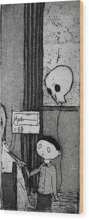 Balloon Wood Print featuring the mixed media Bad News Balloon by Josean Rivera