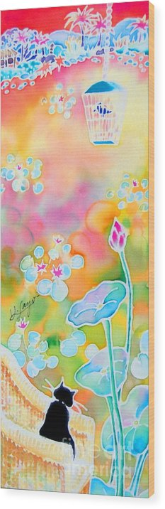 Cat Wood Print featuring the painting Lotus Pond by Hisayo Ohta